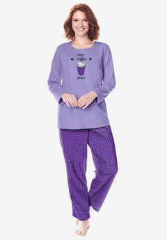 Long Sleeve Knit PJ Set , PLUM BURST DOT
