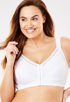 Front-Close Cotton Wireless Posture Bra , WHITE