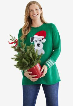 Holiday Pullover Sweater, EMERALD DOG