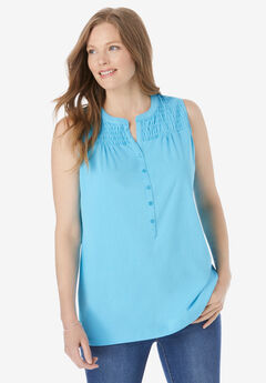 Smocked Henley Tank Top,