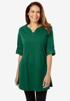 Perfect Roll-Tab-Sleeve Notch-Neck Tunic,