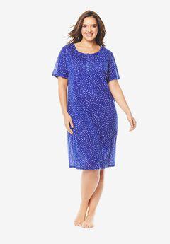 Dreams & Co® Pintuck Cooling Sleepshirt, ULTRA BLUE DOT