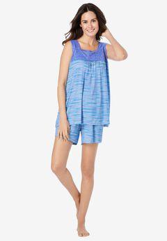 Lace-Trim Short Pajama Set , BLUE VIOLET STRIPE