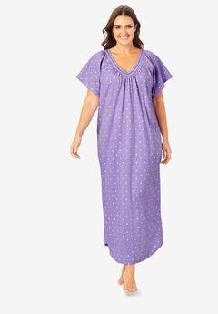 Crochet Trim Flutter Sleeve Gown ,