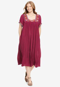Short-Sleeve Embroidered Crinkle Dress,