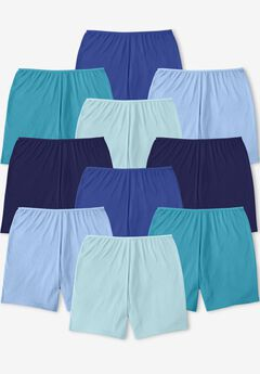 10-Pack Cotton Boyshort, BLUE MULTI PACK
