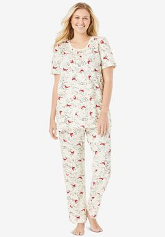 Floral Henley PJ Set , CLASSIC RED CARDINALS