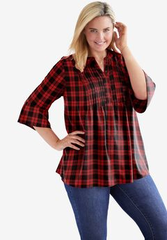 Pintucked Ruffle Sleeve Blouse, CLASSIC RED PLAID