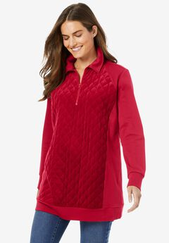 Quilted Velour Sweatshirt,