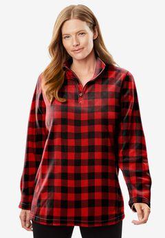 Microfleece Quarter-Zip Pullover, VIVID RED BUFFALO PLAID