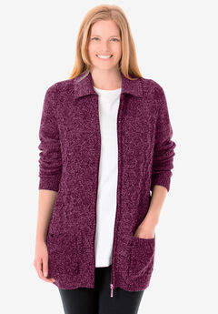 Marled Zip-Front Cable Knit Cardigan,