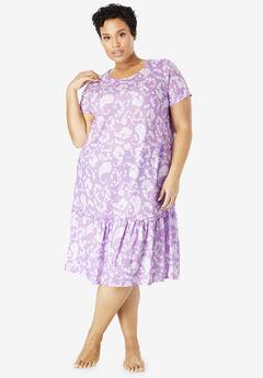 Cool Dreams Peplum Sleep Shirt , LIGHT ORCHID PAISLEY