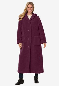 Long Hooded Berber Fleece Coat,