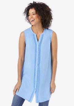 Crochet Trim Button Front Notch Neck Tunic,