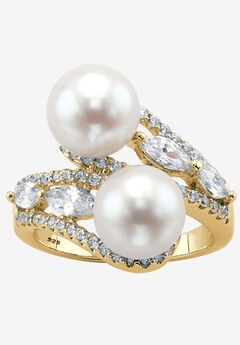 Gold over Sterling Silver Pearl and Marquise Cubic Zirconia Ring,