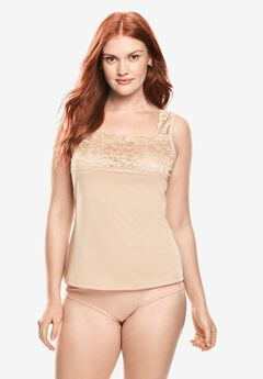 Silky Lace-Trimmed Camisole Slip ,