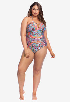 High-Neck Halter One-Piece , SERENE SIREN MULTI