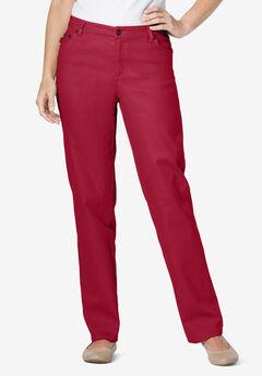 Straight Leg Stretch Jean, CLASSIC RED