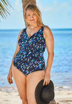Front-Tie One-Piece with Wrap Detail , TWILIGHT BRUSHSTROKE