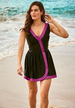 Contrast-Trim Swim Dress with Bike Short,