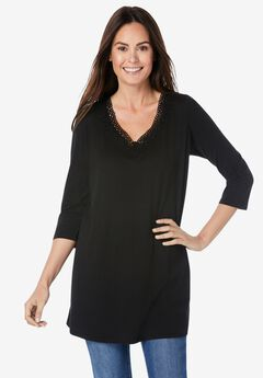 Crochet-Neck Tunic,