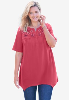 Embroidered Henley Tunic,