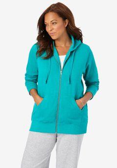 Better Fleece Zip-Front Hoodie, HEATHER WATERFALL