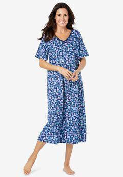 Long Print Sleepshirt , EVENING BLUE FLORAL