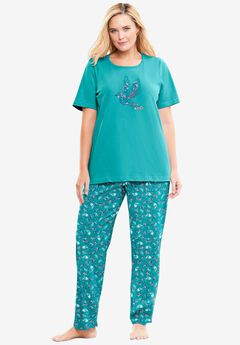 Graphic Tee PJ Set , WATERFALL PAISLEY FLORAL