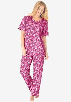 Floral Henley PJ Set , STRAWBERRY ROSES