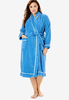 Spa Terry Short Wrap Robe , CORNFLOWER BLUE