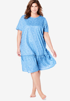Cool Dreams Peplum Sleep Shirt , CORNFLOWER BLUE LOVE