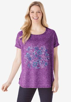 Marled Cuffed-Sleeve Tee, PLUM PURPLE FLORAL PLACEMENT