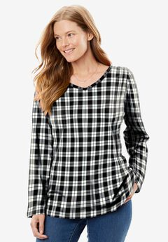 Perfect Printed Long-Sleeve V-Neck Tee, IVORY PLAID