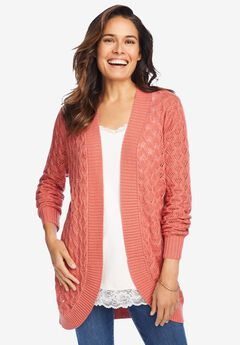 Pointelle Curved Open Cardigan,