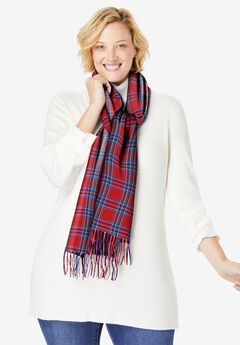 Plaid Fringed Scarf,