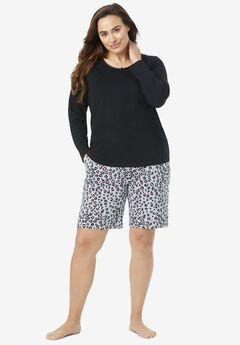 Print Pajama Shorts , HEATHER GREY ANIMAL