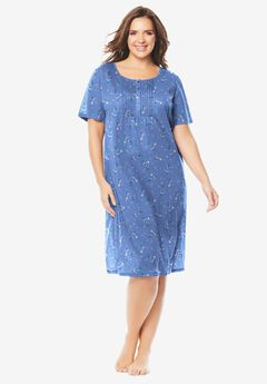 Dreams & Co® Pintuck Cooling Sleepshirt, FRENCH BLUE BOUQUET