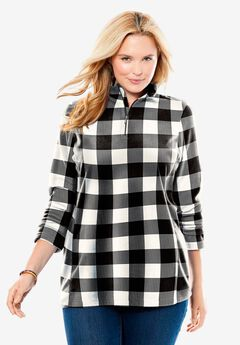 Microfleece Quarter-Zip Pullover, IVORY BUFFALO PLAID