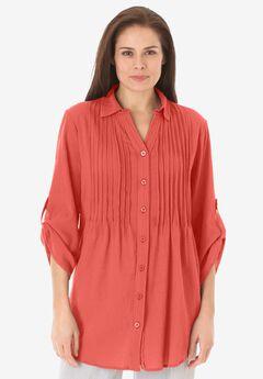 Pintucked Button Down Gauze Shirt, SAHARA ORANGE