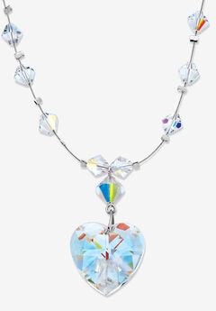 Silvertone Heart Aurora Borealis Necklace Made with Swarovski Elements,