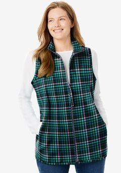 Zip-Front Microfleece Vest, WATERFALL CROSSHATCH PLAID