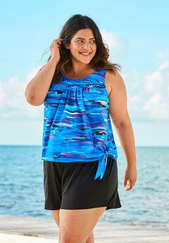2-Piece Blouson Swim Set , BLUE WAVE ABSTRACT
