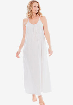 Breezy Eyelet Knit Long Nightgown ,