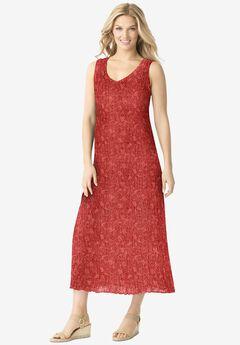 Sleeveless Crinkle A-Line Dress,