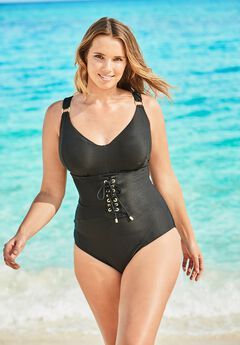 Ribbed Underwire One-Piece ,