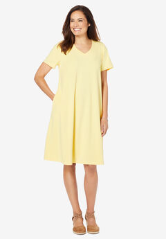 Short-Sleeve V-Neck Dress,