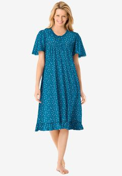 Short Floral Print Cotton Gown , DEEP TEAL DITSY