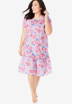 Cool Dreams Peplum Sleep Shirt , RASPBERRY SORBET FLORAL