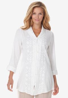 Textured Gauze Tunic with Shawl Collar,